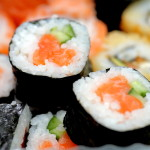 delicious sushi on plate, macro shot